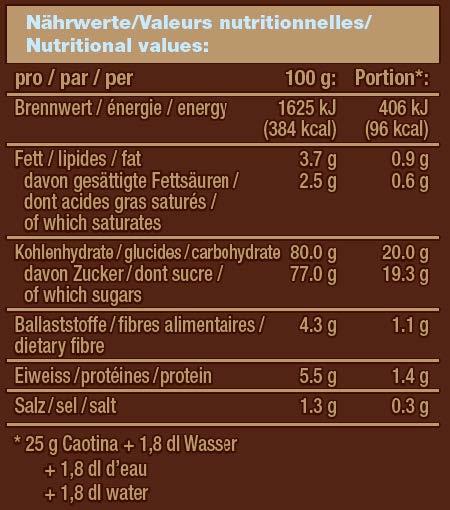 Chocolat en poudre Caotina, 100 sticks x 15 g 4
